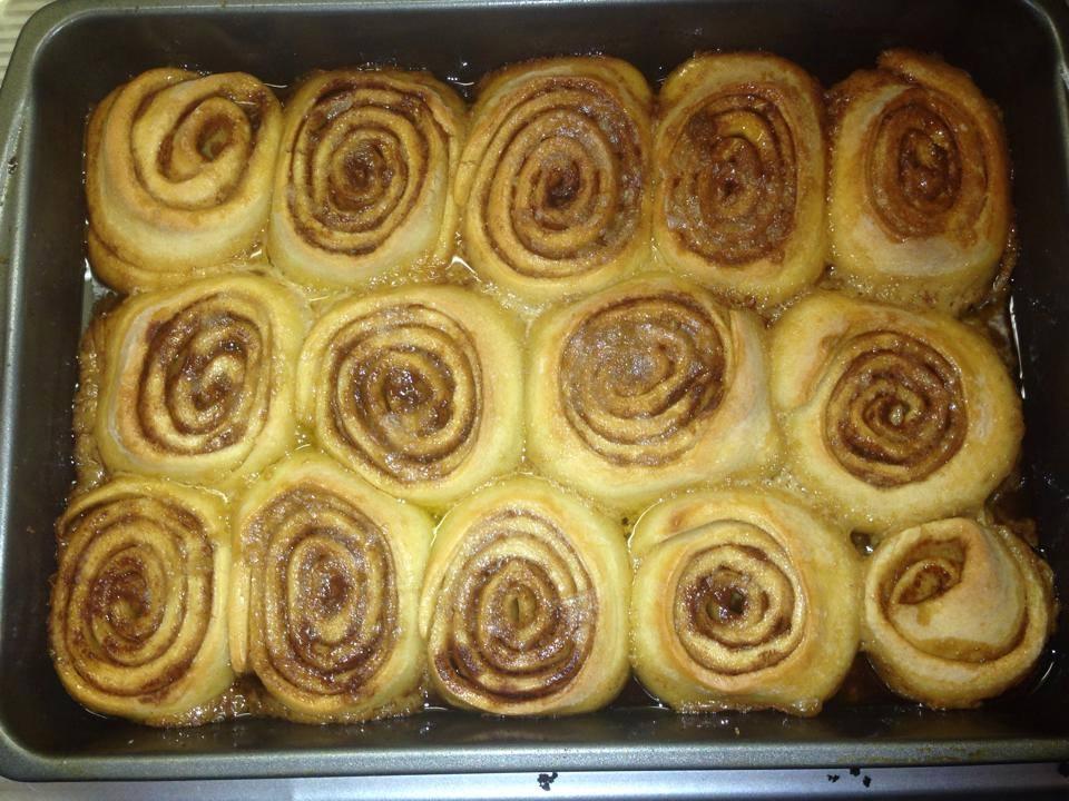 Amish Friendship Bread Cinnamon Rolls in 9x13 pan