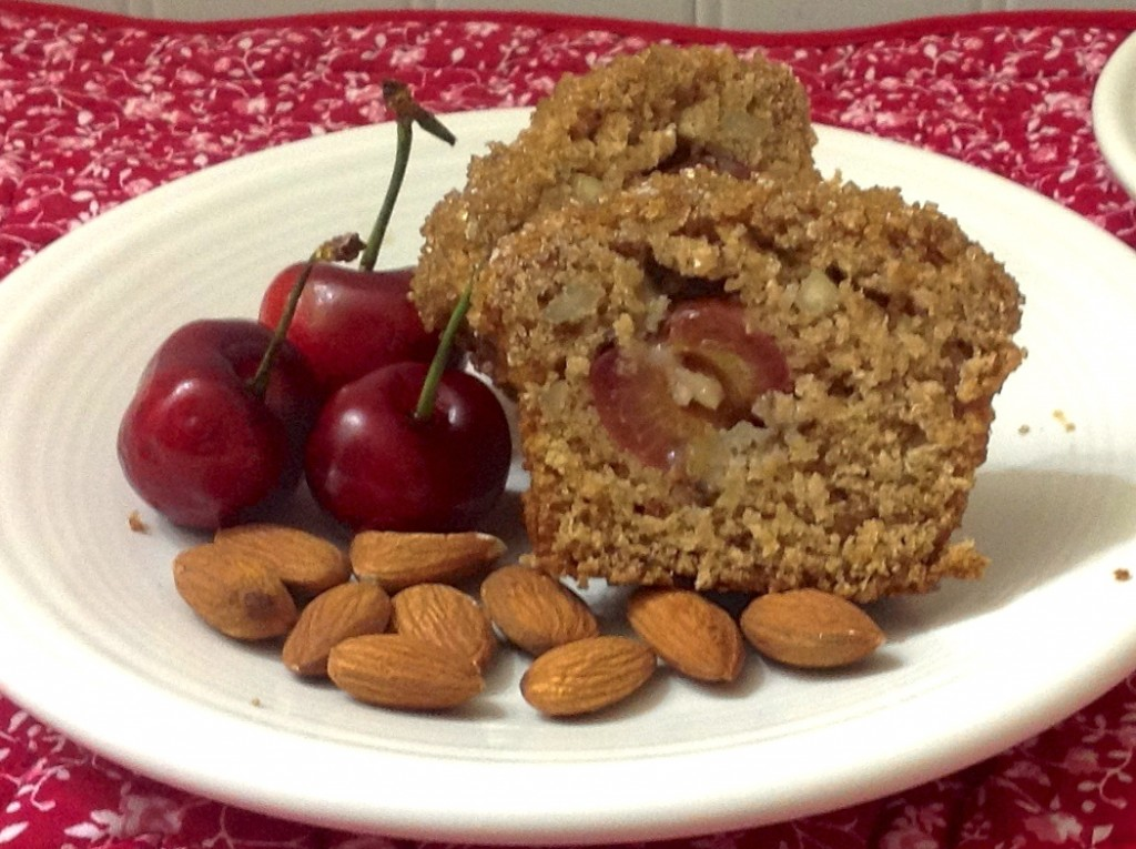 Cherry Almond Oat Bran Amish Friendship Bread Muffins by Diane Siniscalchi | friendshipbreadkitchen.com
