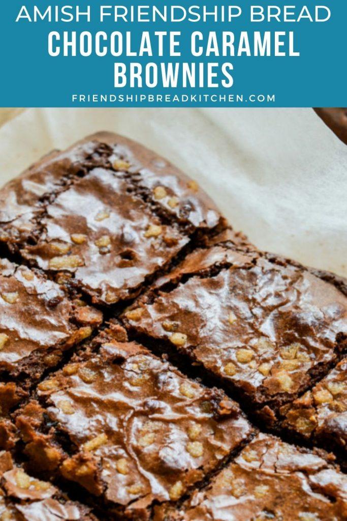 sliced chocolate caramel amish friendship bread brownies