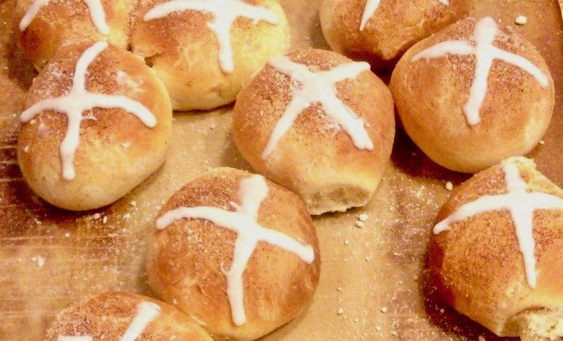 Amish Friendship Bread Hot Cross Buns by Christine Shipley | friendshipbreadkitchen.com