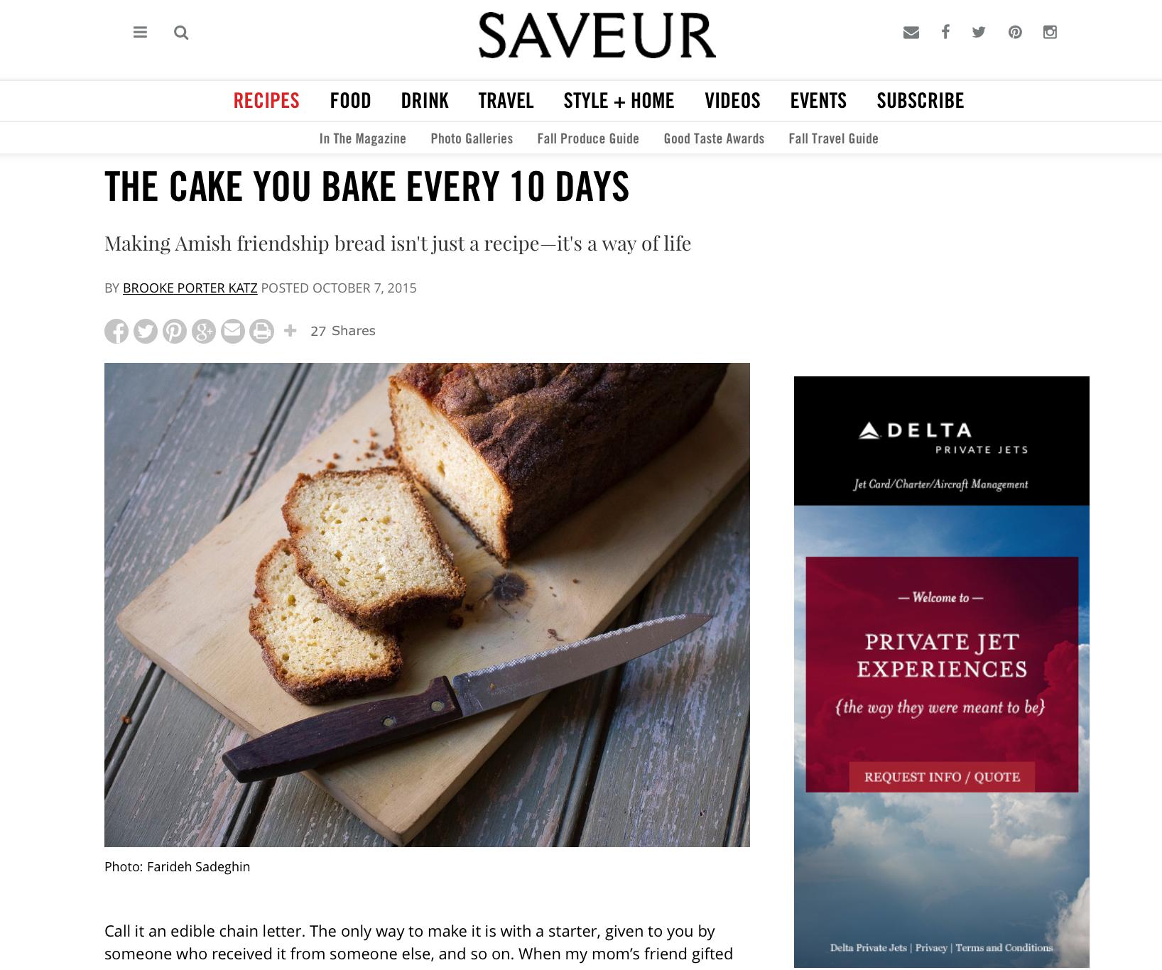 Friendship Bread Kitchen in Saveur!   https://www.friendshipbreadkitchen.com
