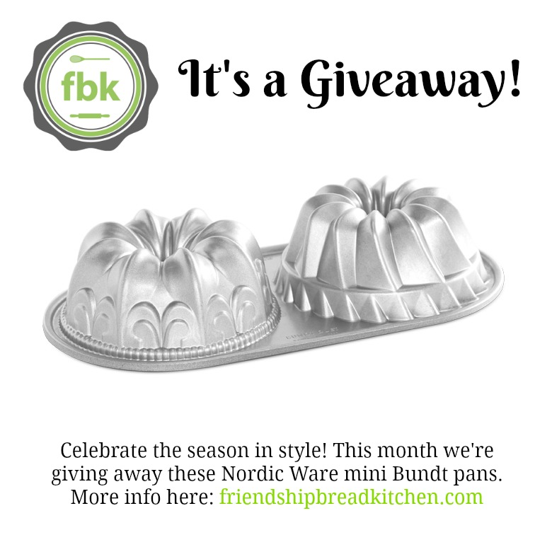 December 2016 Giveaway Mini Bundt Pans | friendshipbreadkitchen.com