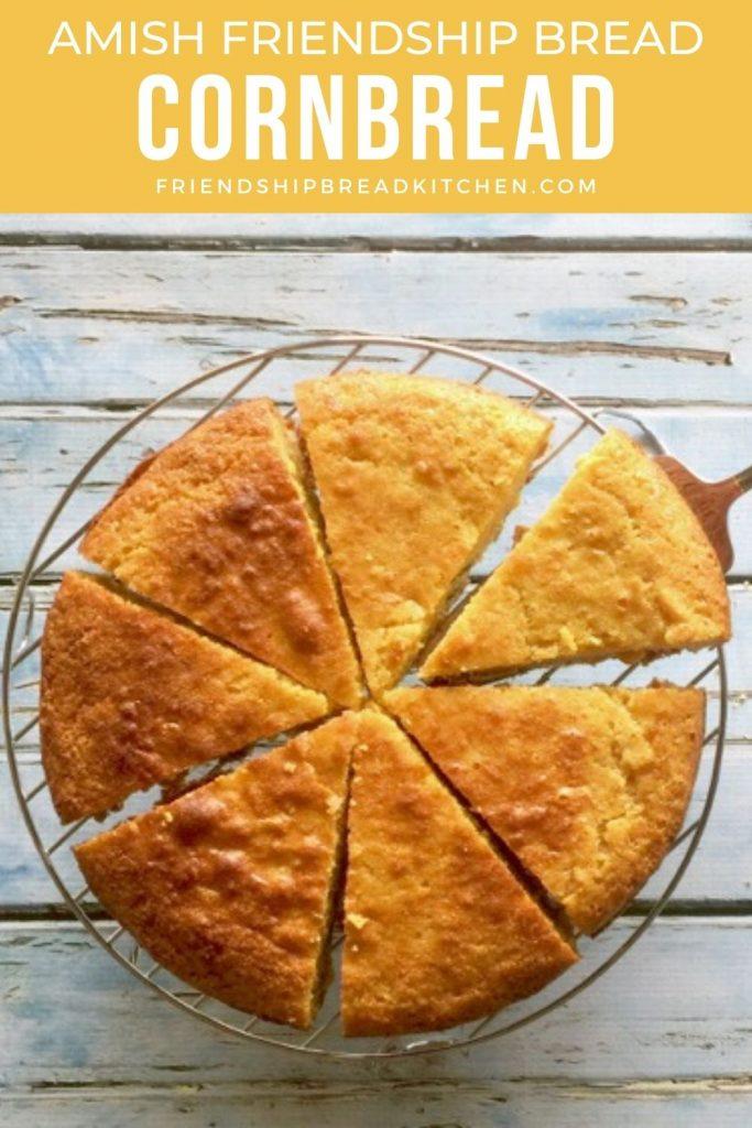 round cornbread sliced in a circle