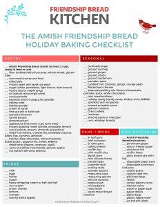 Amish Friendship Bread Holiday Baking Checklist | friendshipbreadkitchen.com