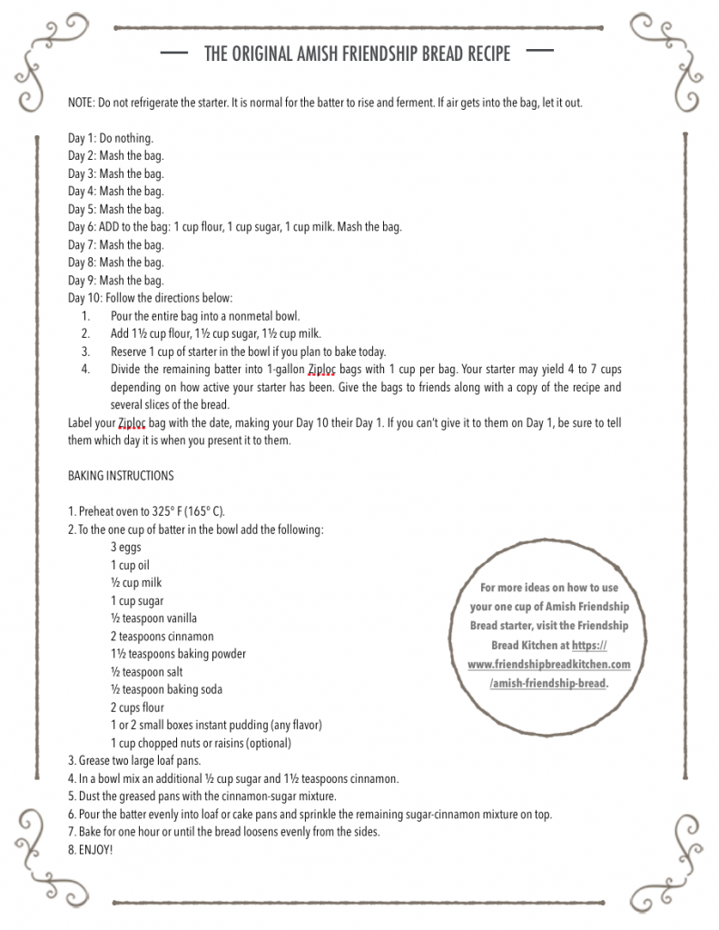 Amish Friendship Bread Instructions