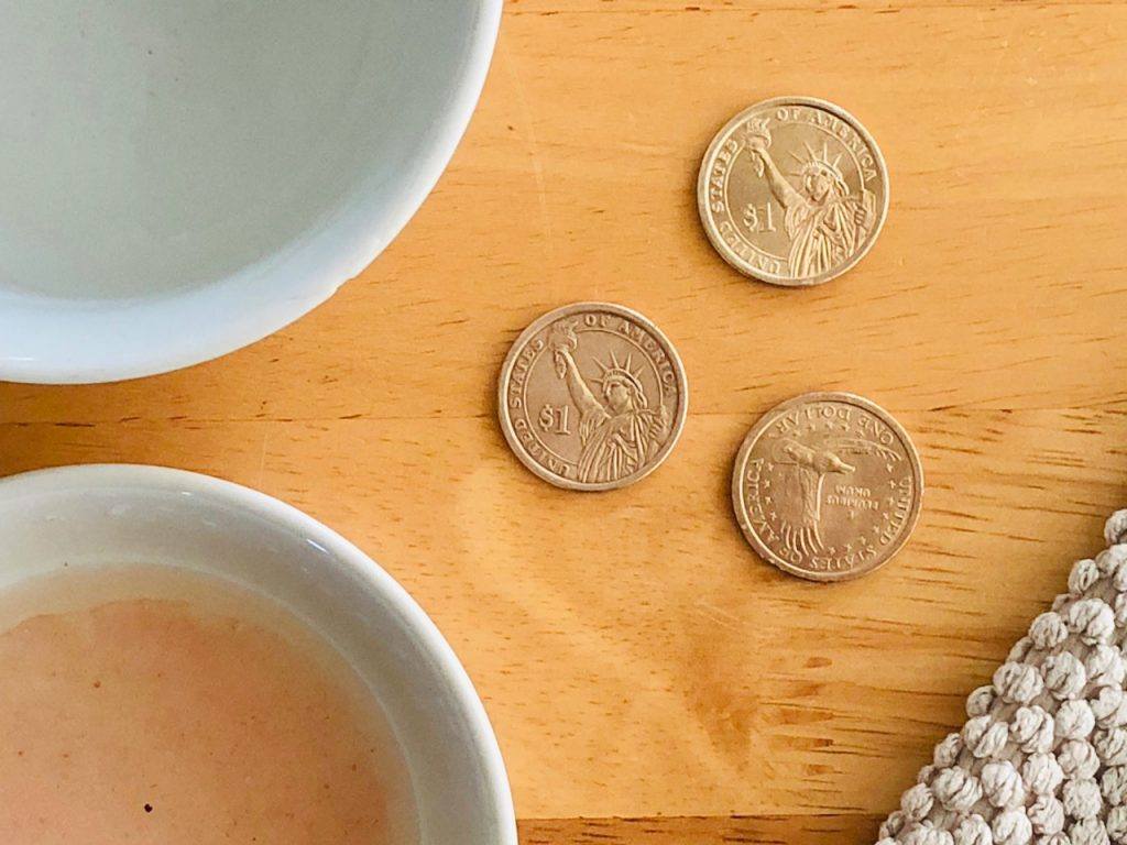 Cleaning Coins for Amish Friendship Bread Vasilopita | friendshipbreadkitchen.com