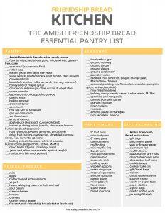 The Essential Amish Friendship Bread Pantry Checklist | friendshipbreadkitchen.com