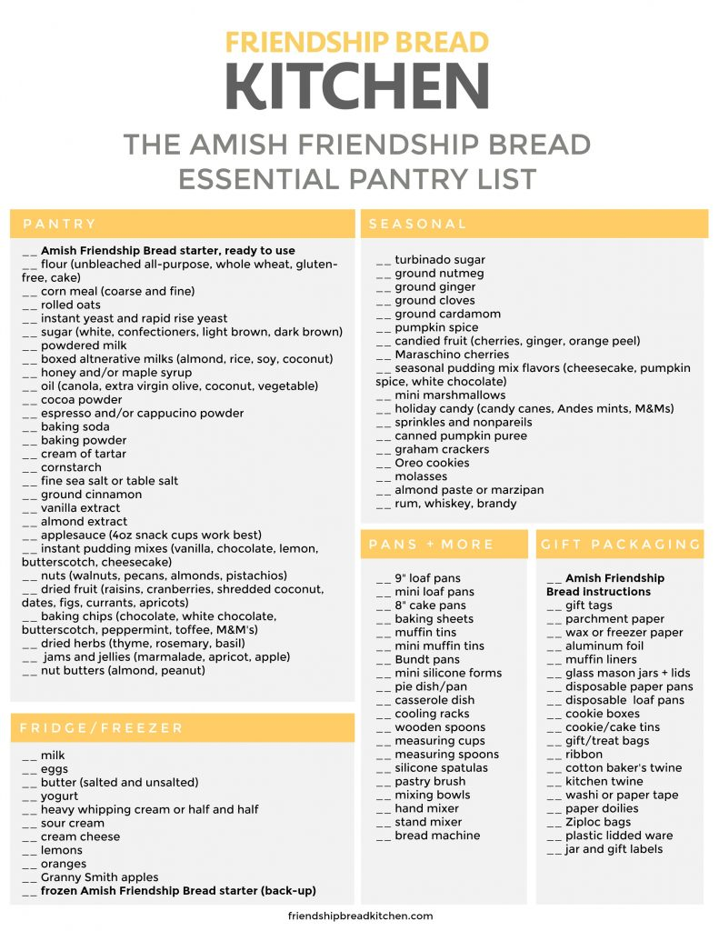 Checklist of Essential Amish Friendship Bread Pantry Items