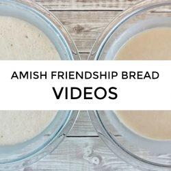 Two glass mixing bowls of Amish Friendship Bread starter with the title Amish Friendship Bread Videos across the front