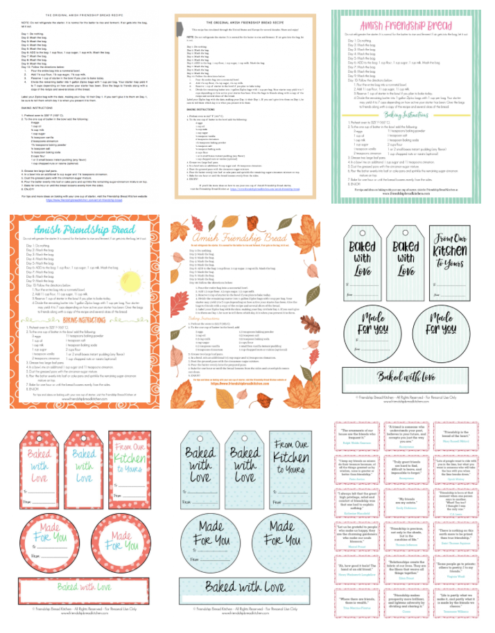 Sample Amish Friendship Bread Printables | friendshipbreadkitchen.com