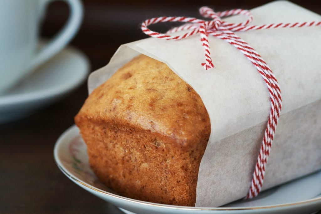 Gift wrapped Amish Friendship Bread loaf