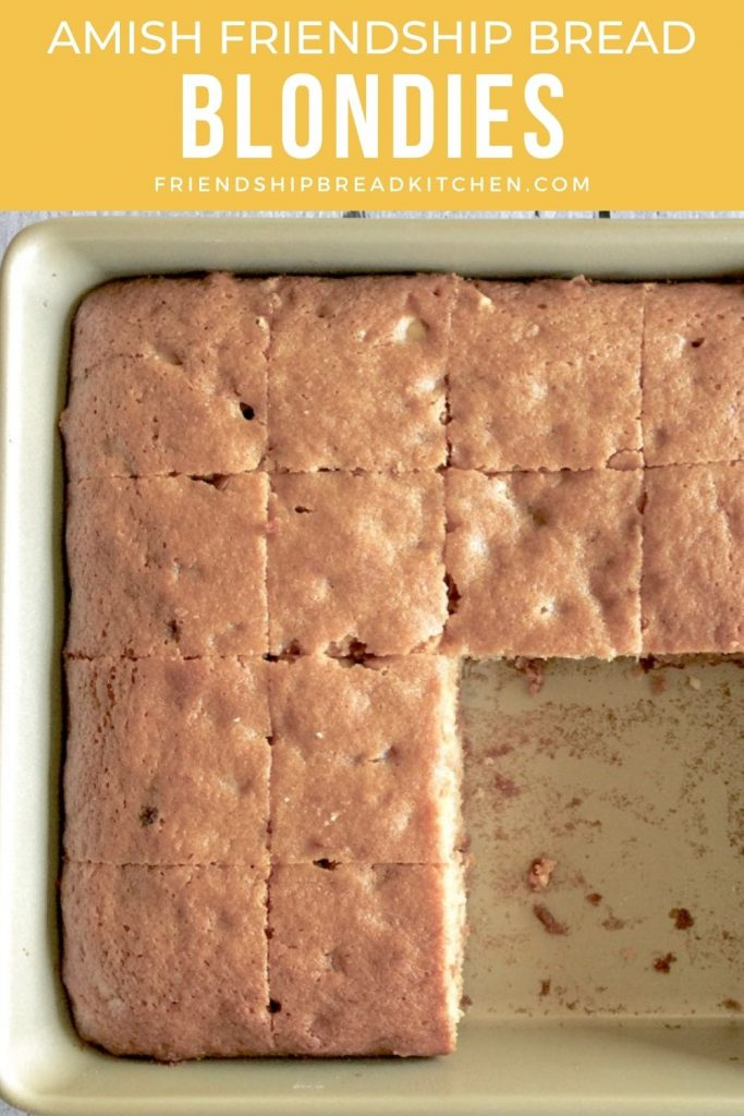 blondies in a pan, missing a few slices