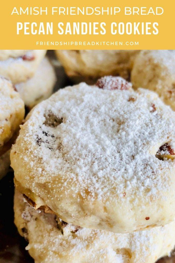 close-up of pecan sandies cookies stacked