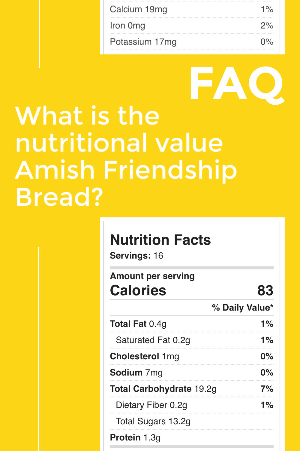 FAQ - What is the nutritional value for Amish Friendship Bread?