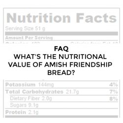 FAQ – What is the nutritional value for Amish Friendship Bread?