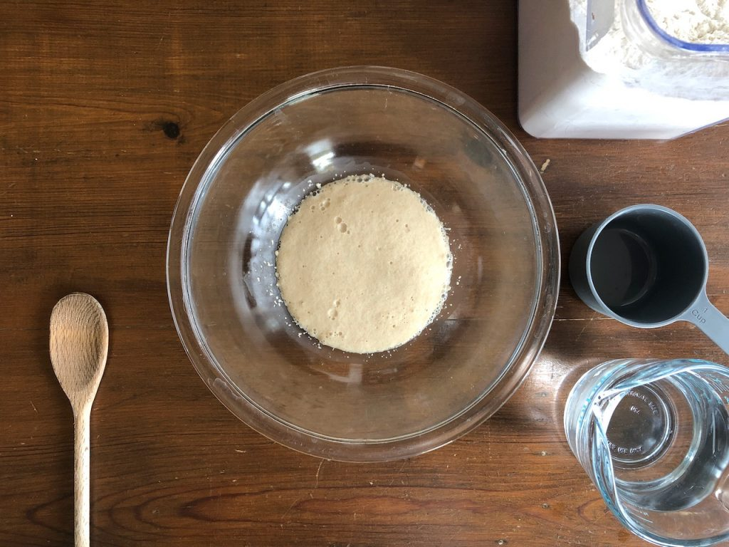 Activated yeast in a bowl