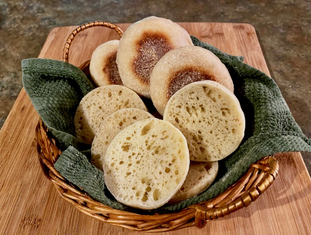 A basket of Amish Friendship Bread English Muffins