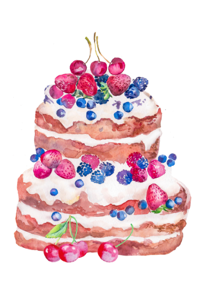 Watercolor painting of a layer cake with fresh berries.